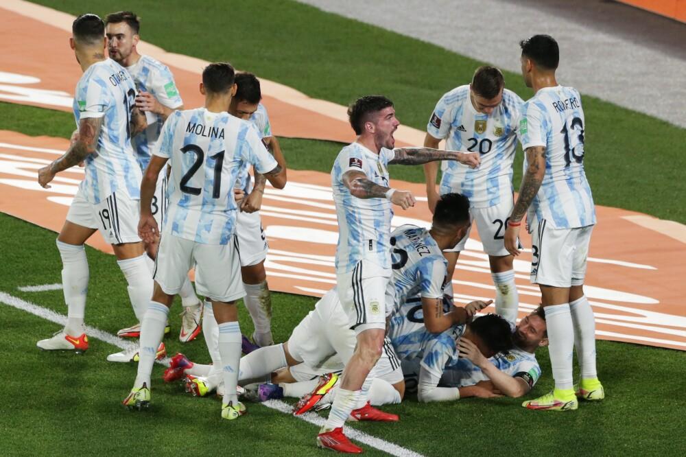 Celebración de la Selección Argentina, tras su gol