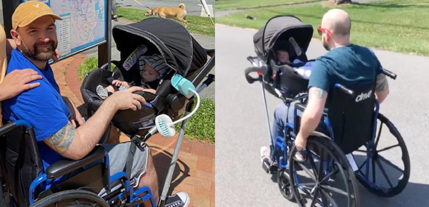 Papá con silla de ruedas modificada para cargar bebé