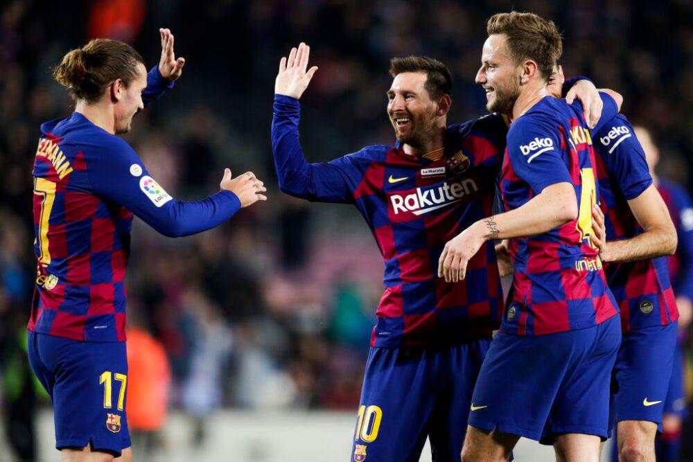 Rakitic, Messi y Griezmann, futbolistas Barcelona