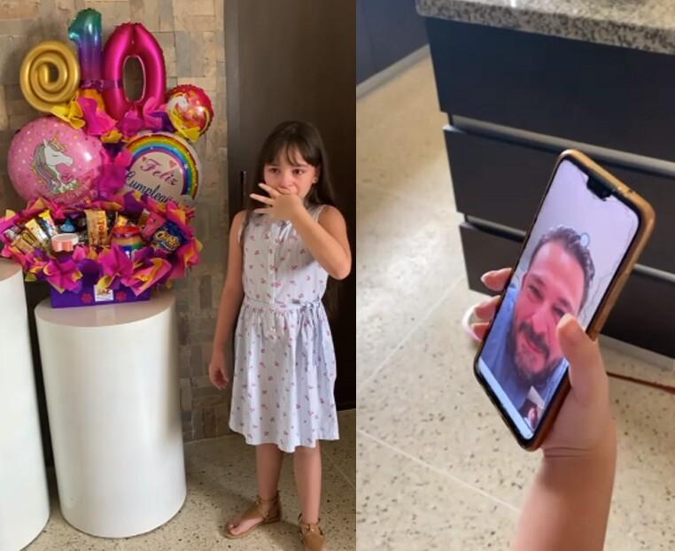 Padre venezolano celebra el cumpleaños de su hija que está lejos