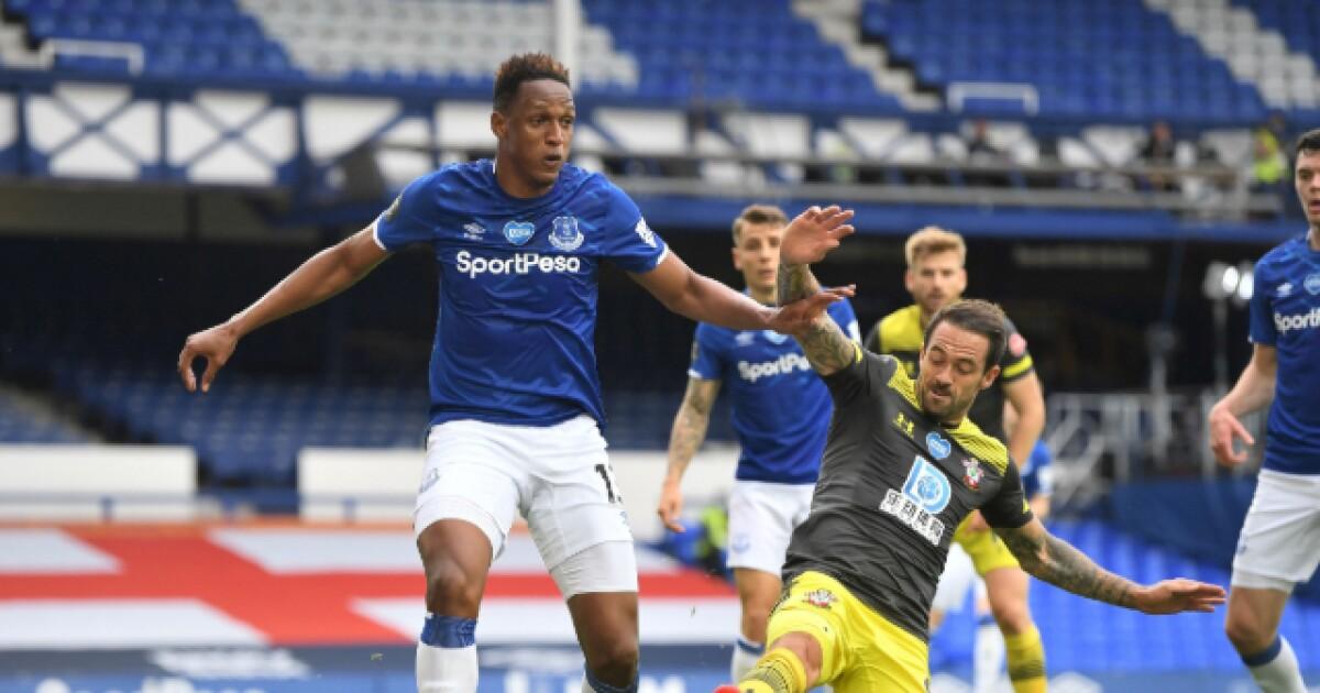Yerry Mina volvió a la titularidad con Everton y cumplió: 1-1 con Southampton