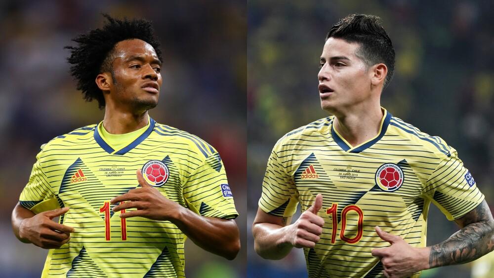 Juan Guillermo Cuadrado y James Rodríguez en la Selección Colombia