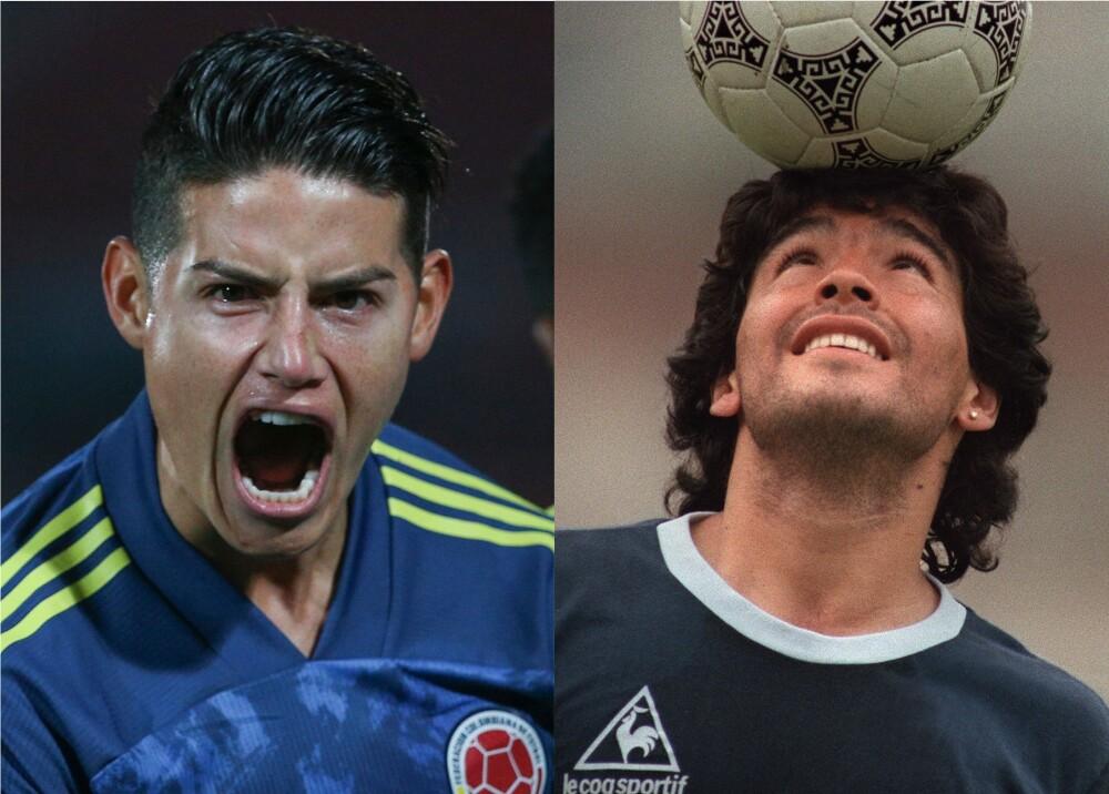 James Rodríguez y Maradona. Foto: AFP