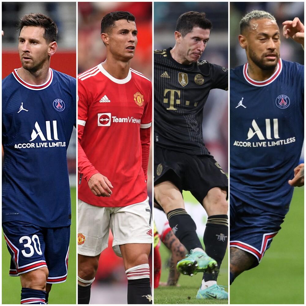 Messi, Cristiano, Neymar y Lewandowski