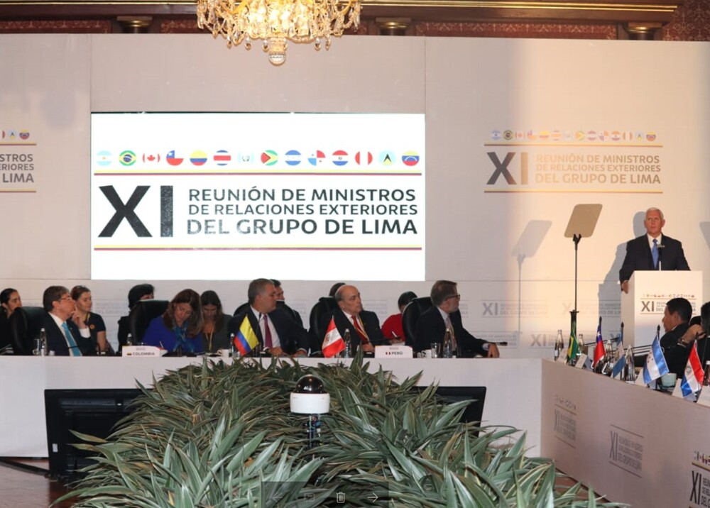 328427_BLU Radio. Mike Pence en reunión del Grupo de Lima. Foto: Cancillería