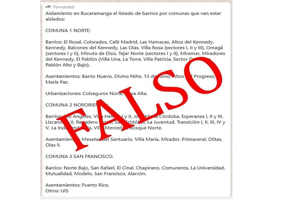 374623_BLU Radio. Falso listado barrios aislamiento / Foto: Alcaldía de Bucaramanga