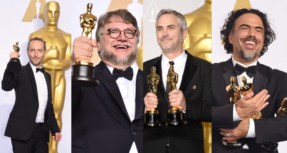 Chivo Lubezky, Guillermo del Toro, Alfonso Cuarón y Alejandro González-Iñarritú en los Premios Oscar
