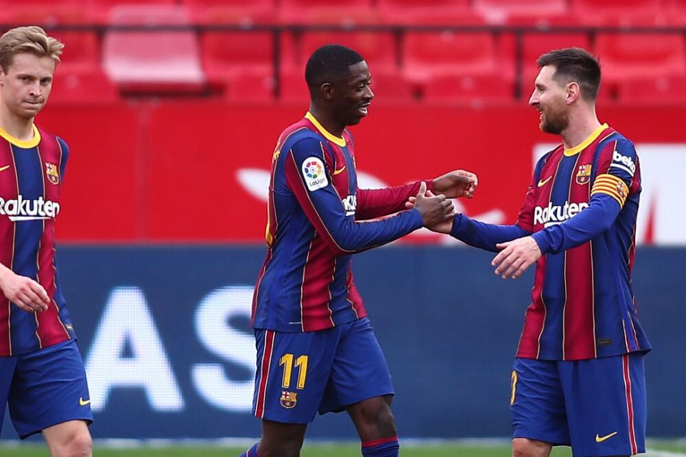 Ousmane Dembele Barcelona Lionel Messi 270221 Getty Images E.jpg