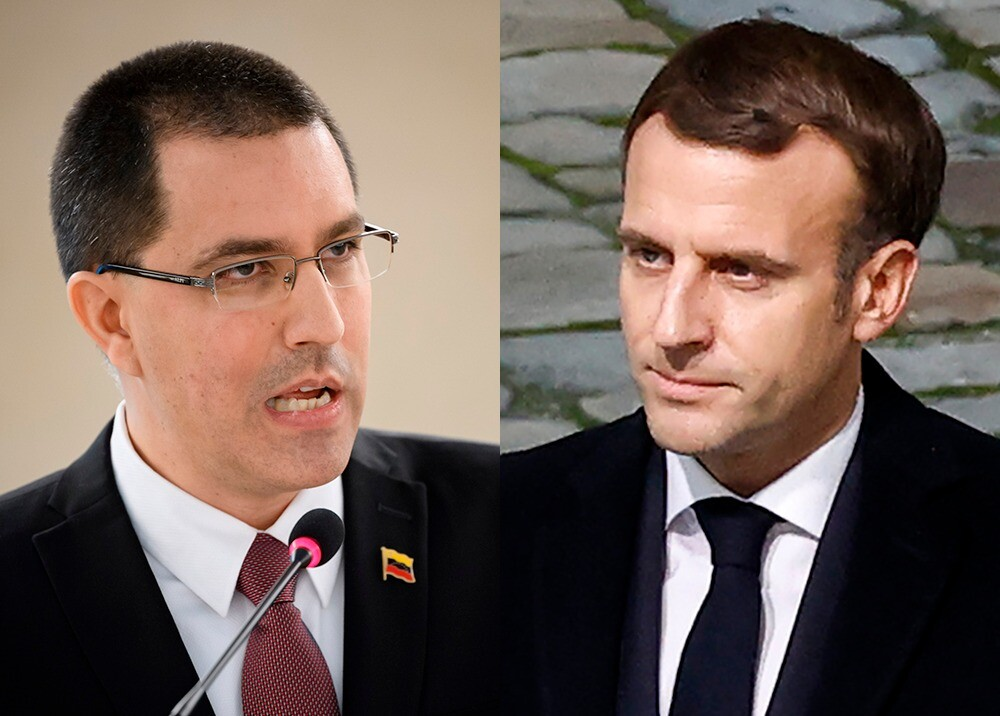 Jorge Arreaza y Emmanuel Macron / AFP