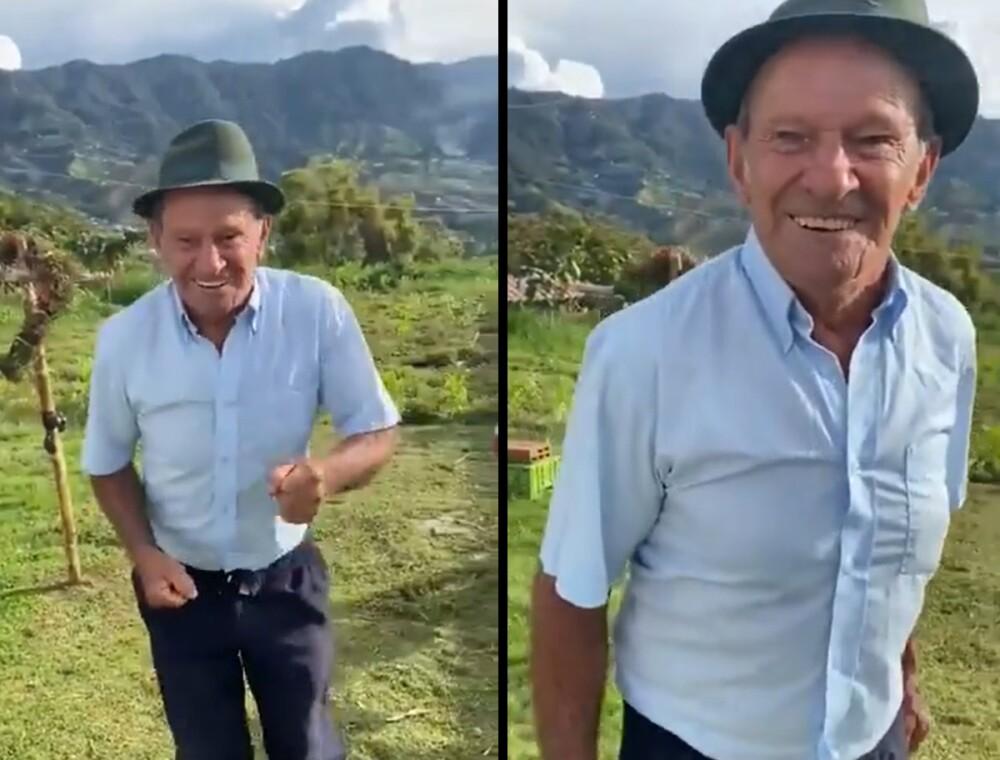 Campesino bailando de felicidad
