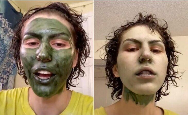 Mujer con cara verde