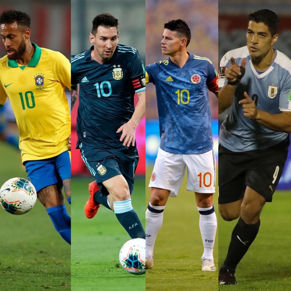 Neymar, Messi, James y Suárez
