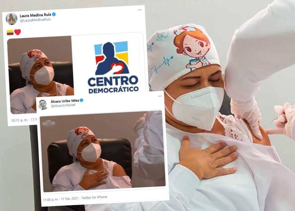Críticas al Centro Democrático por uso de imagen de vacunada