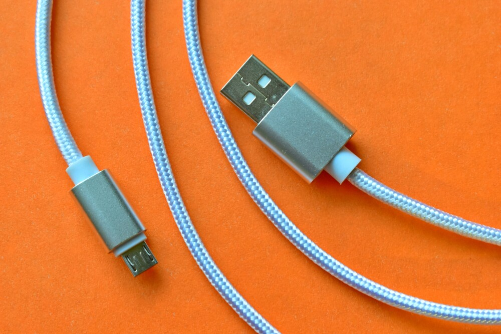 White micro USB cable close up