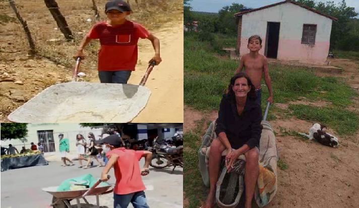 Niño que trabaja para ayudar a su mamá