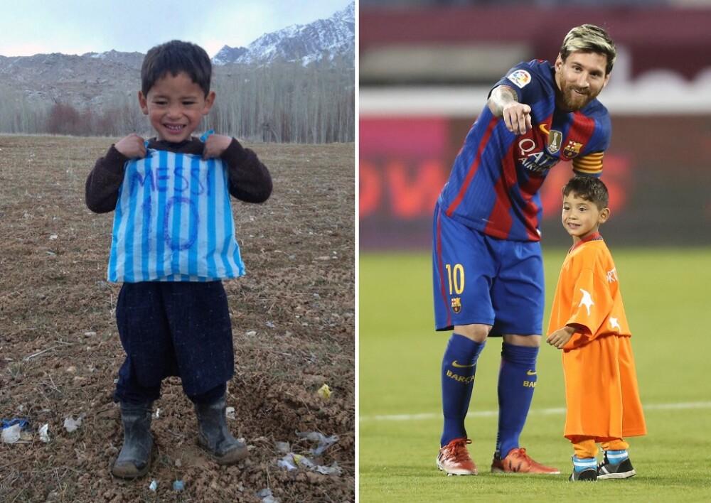 Niño afgano camiseta plástico Messi