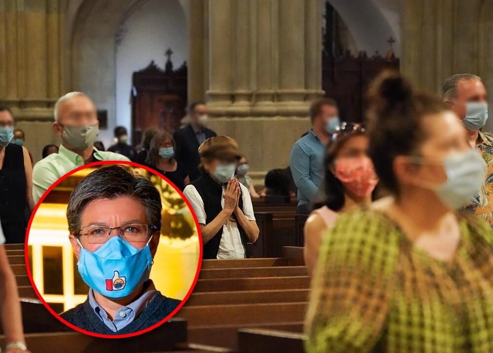 370982_Claudia López dice que no se reabrirán iglesias en Bogotá en el corto plazo // Fotos: Facebook Claudia López - AFP, imagen de referencia