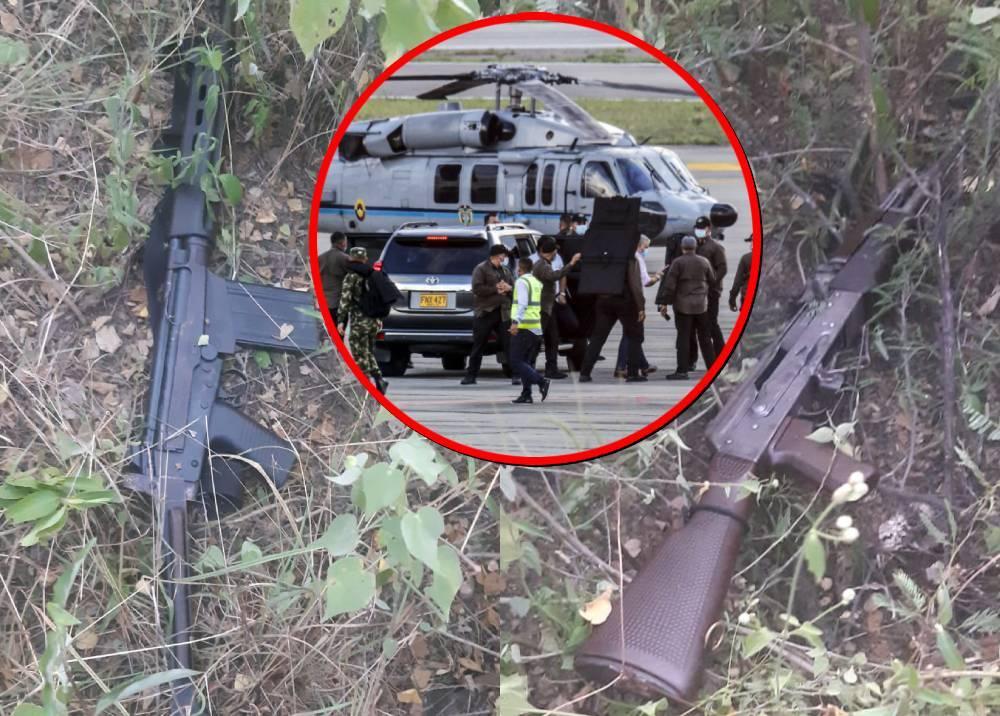 Fusiles con que se habría atentado contra helicóptero en que iba Duque