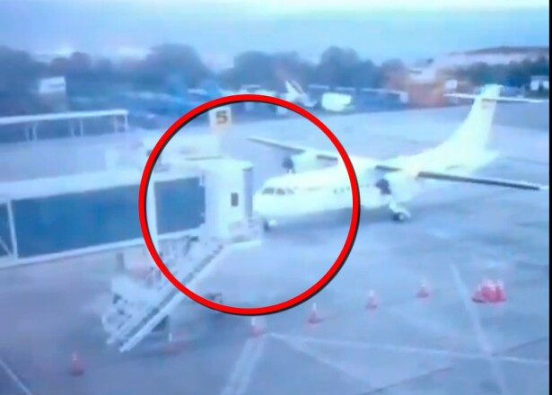 Choque de avión en aeropuerto Palonegro (Santander) : Foto: Captura video suministrado.jpeg
