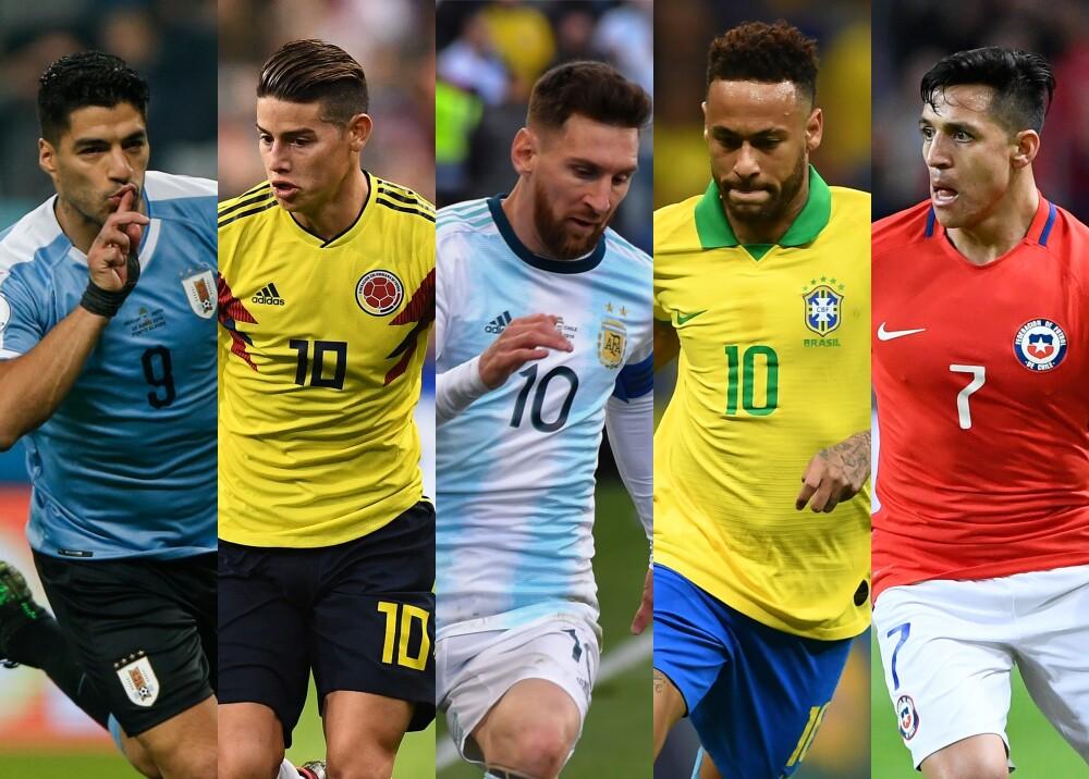 Luis Suárez, James Rodríguez, Lionel Messi, Neymar Jr y Alexis Sánchez Fotos: AFP