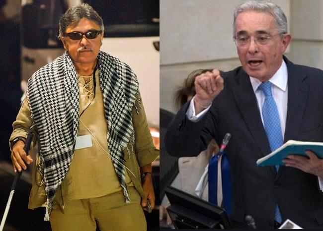373354_Jesus Santrich - Álvaro Uribe / AFP