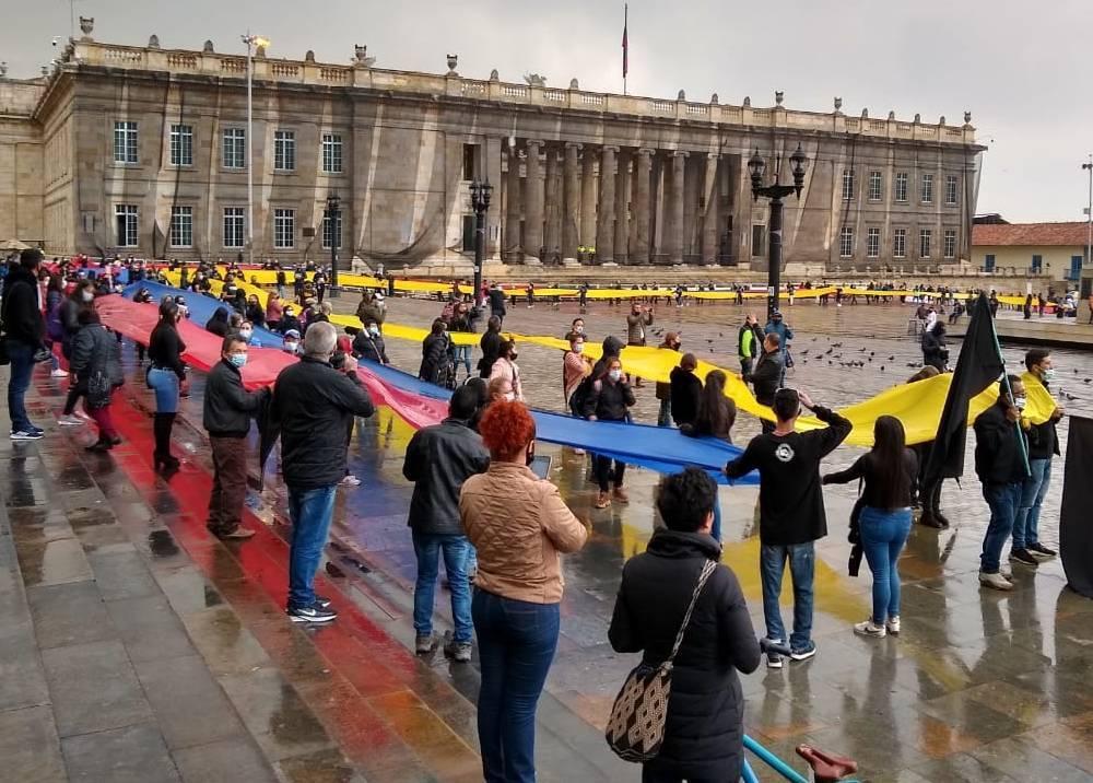 Protesta de comerciantes de San Victorino en la Plaza