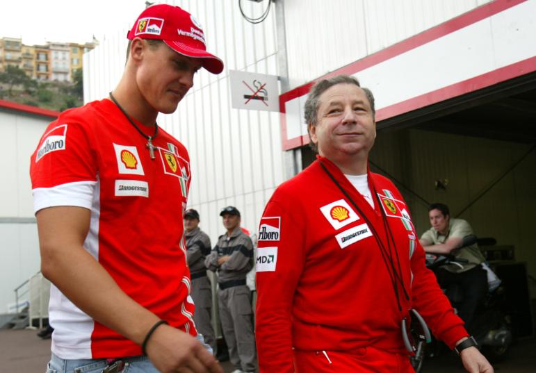 Michael Schumacher y Jean Todt cuando estaban en Ferrari.