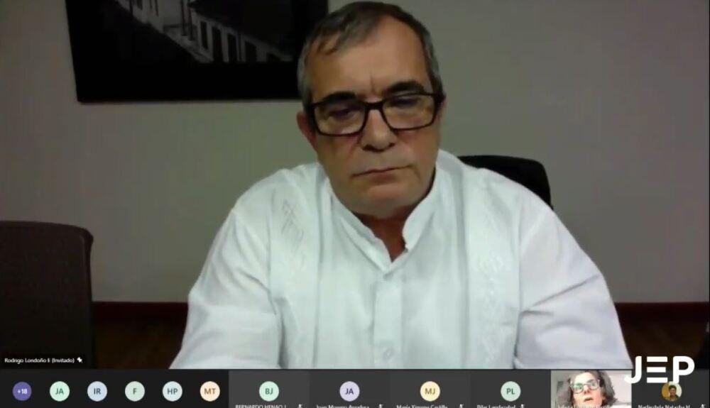 Rodrigo Londoño, Timochenko, ante la JEP. Foto captura pantalla video JEP