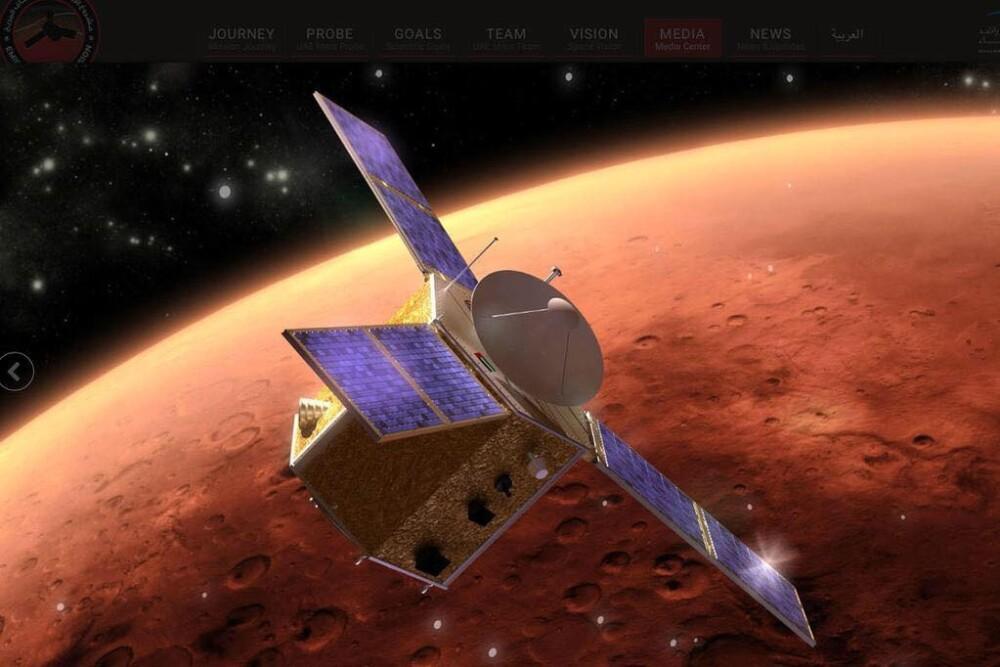 Recreación de la sonda Esperanza orbitando Marte