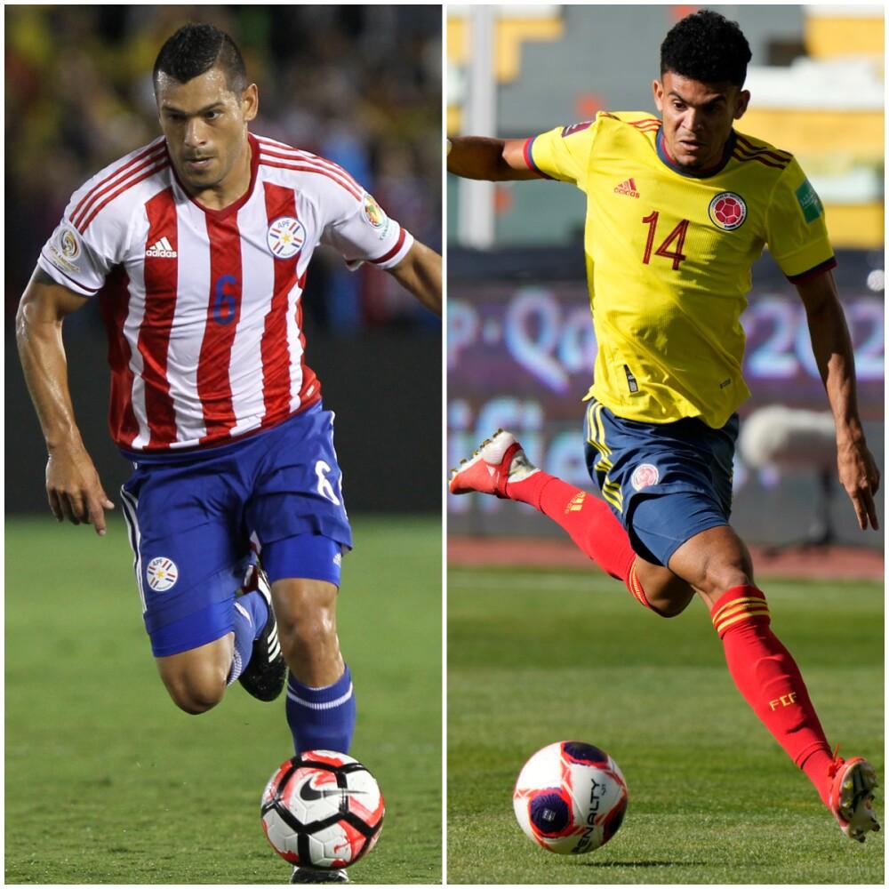 Miguel Samudio, ex jugador de la selección de Paraguay y Luis Díaz, jugador de la Selección Colombia..jpg