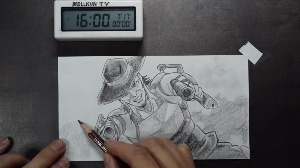 Hombre se vuelve viral por dibujar durante 400 horas.