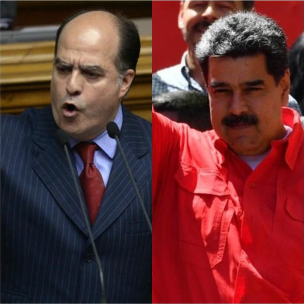 328351_BLU Radio. Julio Borges y Nicolás Maduro / Fotos: AFP