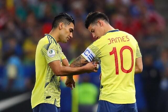 Falcao García y James Rodríguez, futbolistas colombianos