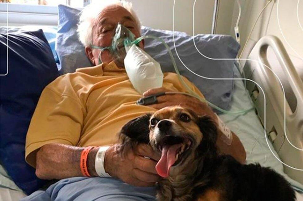 Abuelo recibe visita de su perrita en el hospital