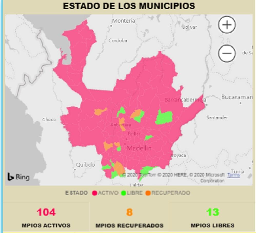 372843_BLU Radio // Mapa del coronavirus en Antioquia // Foto: Gobernación de Antioquia