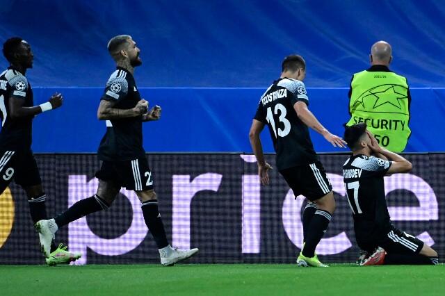 Celebración del Sheriff Tiraspol tras su gol contra Real Madrid