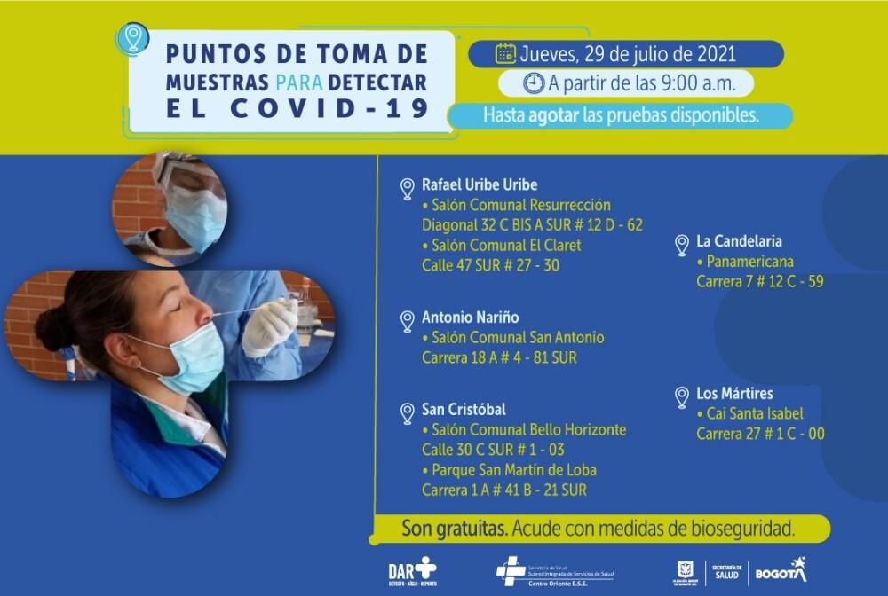 Dónde hay pruebas gratis de COVID 29072021