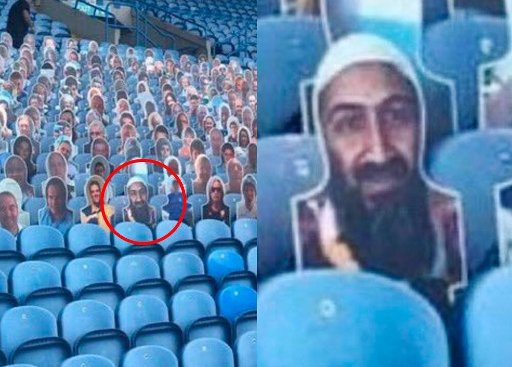 368787_Foto de Bin Laden en estadio inglés // Foto: Twitter @HopkinsBRFC