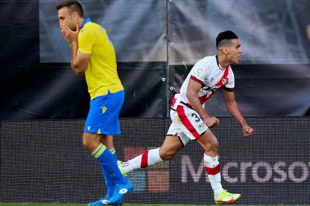 Celebración de Radamel Falcao García, en la Liga de España
