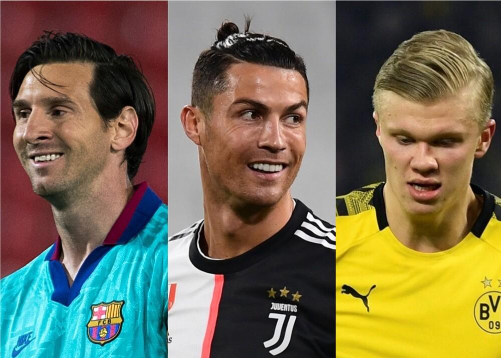 367479_Lionel Messi, Cristiano Ronaldo y Erling Haaland / Fotos: AFP
