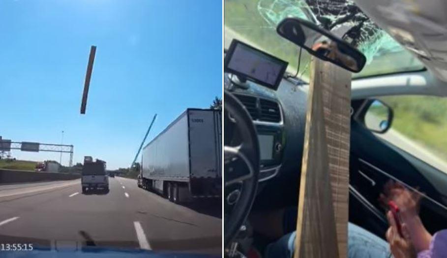 tabla atraviesa parabrisas de un carro en Ohio, Estados Unidos