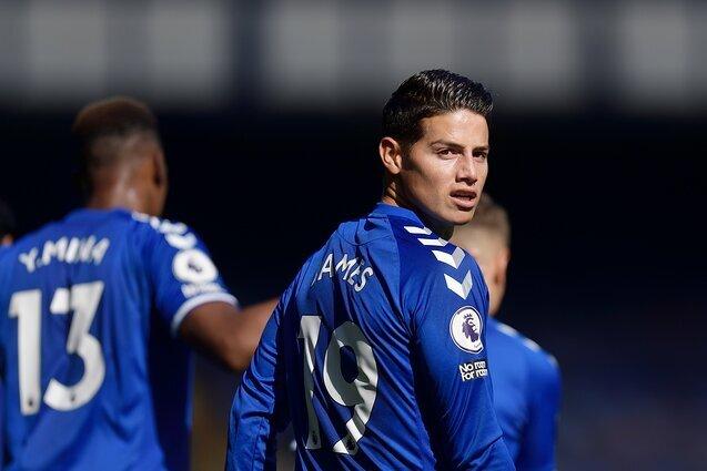 James Rodríguez en acción Everton vs West Bromwich