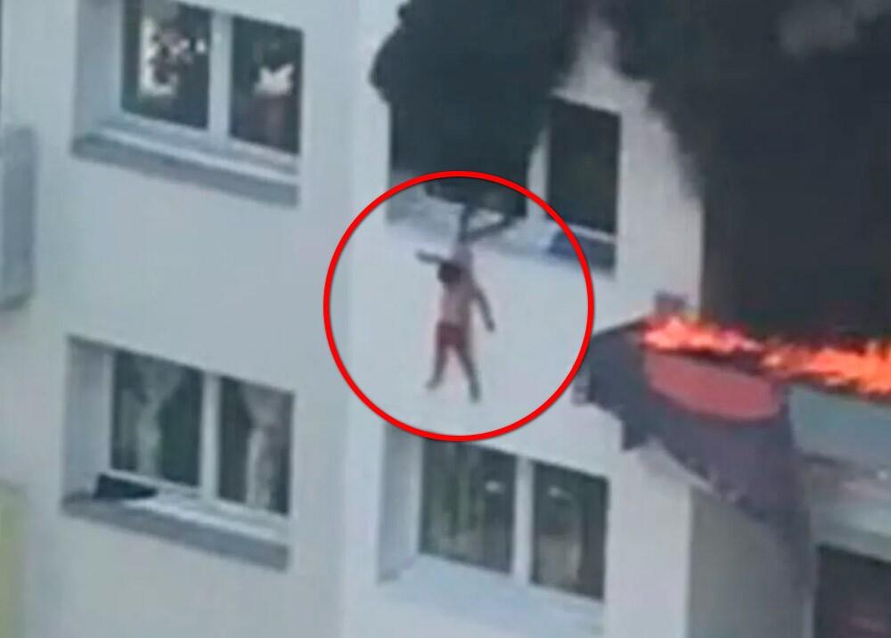 371870_Niños salen ilesos tras saltar desde 10 metros durante incendio en Francia // Foto: captura video AFP