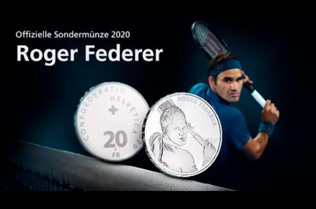 Roger Federer fue inmortalizado en una moneda de plata de 20 francos suizos