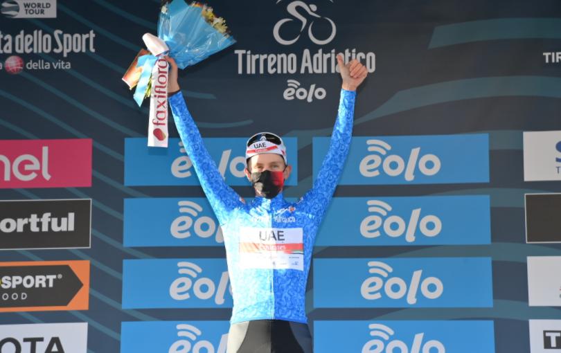 Tadej Pogacar,  líder de la Tirreno-Adriático 2021.