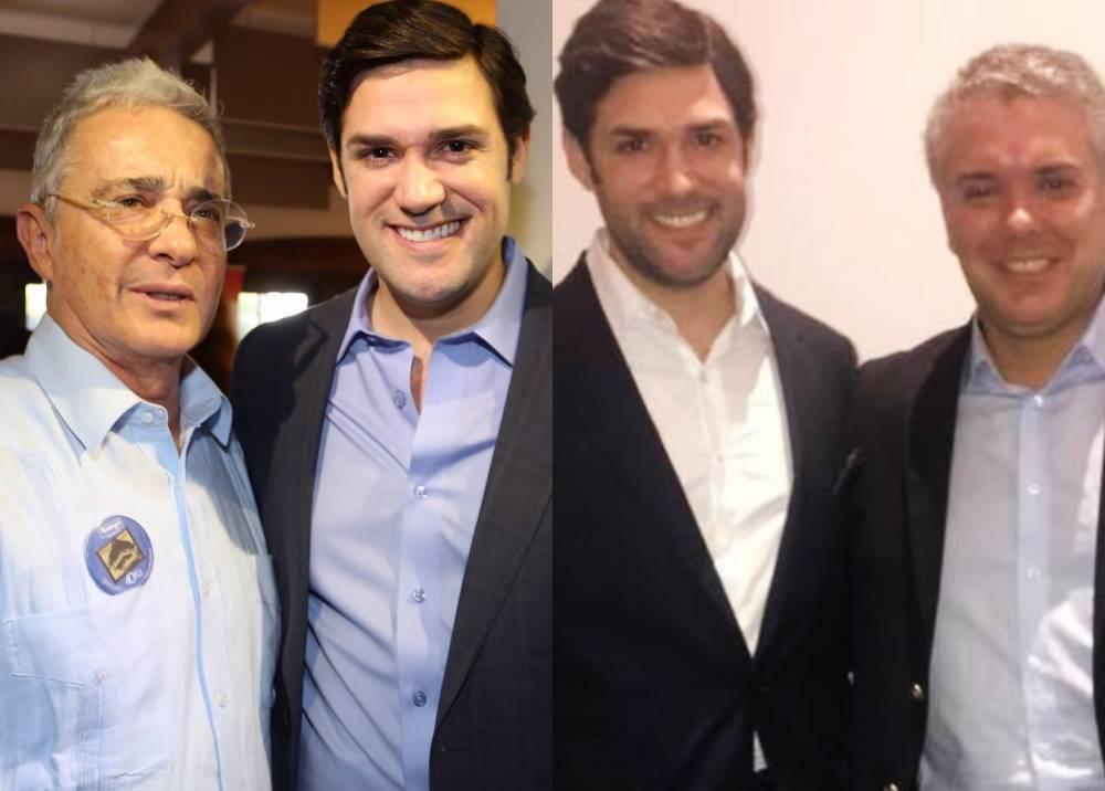 Alfred Santamaría en fotografías con Álvaro Uribe e Iván Duque