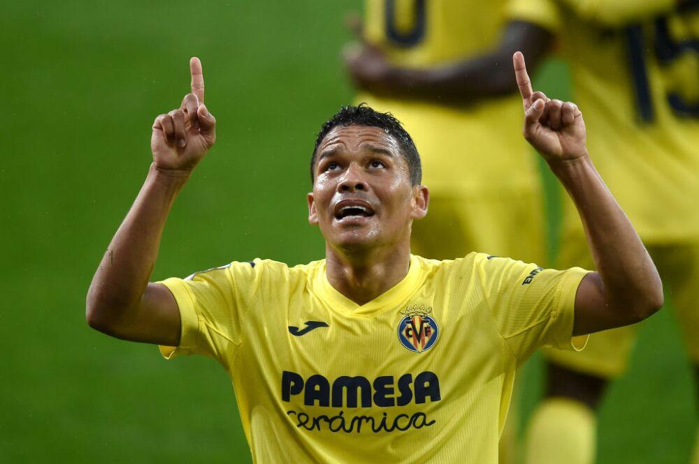 Carlos Bacca, celebra con Villarreal
