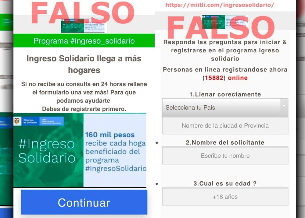 370986_Alertan por falsa página de Ingreso solidario para robar datos // Imagen: Twitter @ColCERT