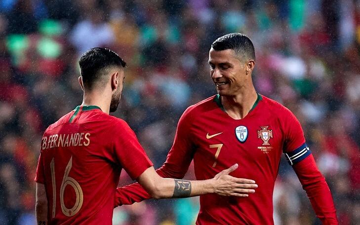 Bruno Fernandes y Cristiano Ronaldo