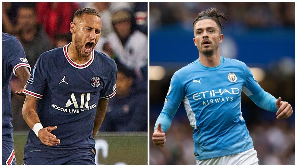 Neymar, figura del PSG, contra Jack Grealish, estrella del Manchester City